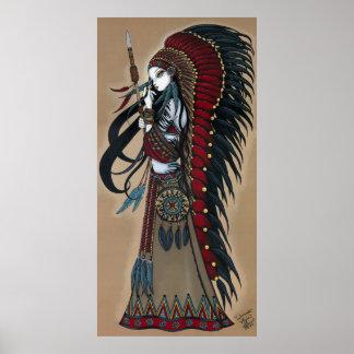 Poster tribal nativo de la sacerdotisa del guerrer póster