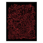 Poster tribal oriental del tatuaje del cromo rojo