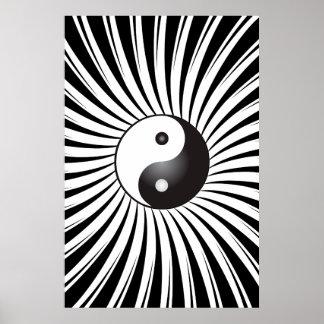 Poster Trippy: Símbolo de Yin Yang y diseño espira