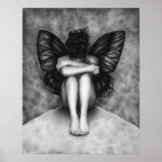 Poster triste del chica de la mariposa