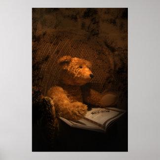 Poster triste viejo del oso de peluche del oso