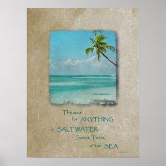 Poster tropical 2 de la playa de la curación del a