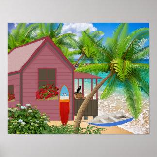 Poster tropical de la escena de la playa