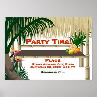 Poster tropical de la invitación de la choza de la