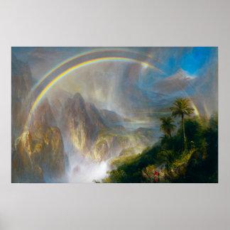 Poster tropical de la pintura del arco iris