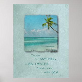 Poster tropical de la playa de la curación del agu