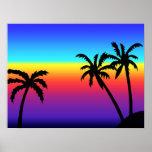 Poster tropical de la puesta del sol