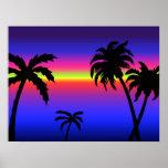 Poster tropical de la puesta del sol de las palmer