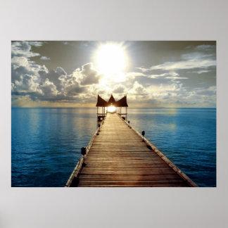 Poster tropical de la puesta del sol grande