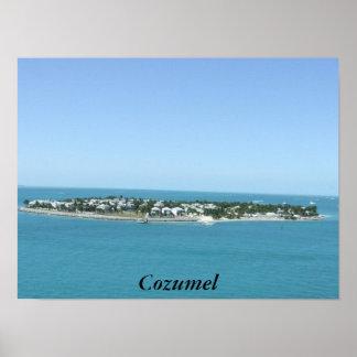 Poster tropical del agua azul de la isla de Cozume