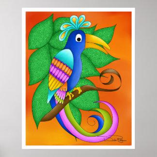 Poster tropical del pájaro de Burdeos