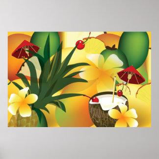 Poster tropical hawaiano del collage de la comida
