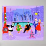 Poster tropical retro de la fiesta de Navidad Póster