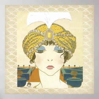 Poster Turbaned de la moda de los 1900s de Poiret