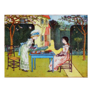 Poster: Two Victorian Girls Having Tea Poster