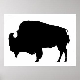 Poster único de la silueta del bisonte del búfalo póster