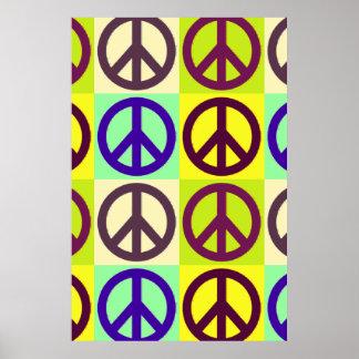 Poster único del signo de la paz del arte pop