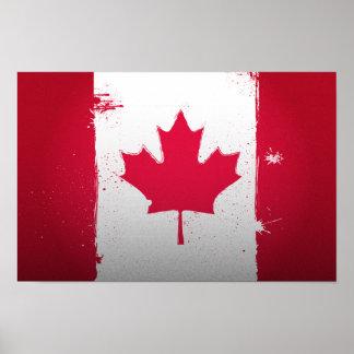 Poster urbano de la bandera de Canadá Póster