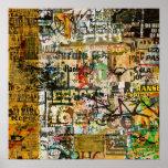poster urbano del decaimiento de la pintada