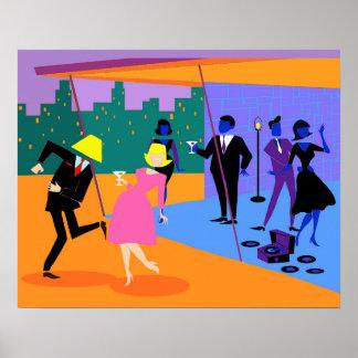 Poster urbano retro del fiesta del tejado póster