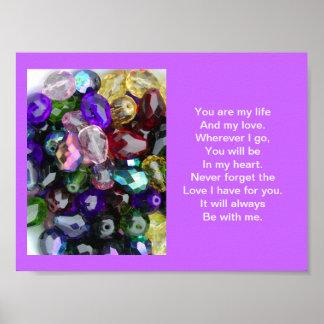 "Poster, ""usted es fondo púrpura de mi vida…"""