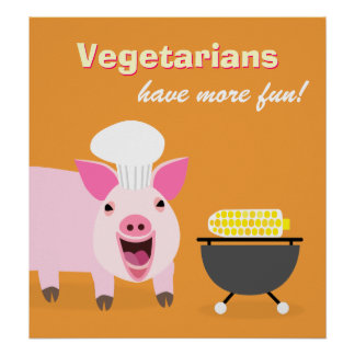 Poster vegetariano del cerdo