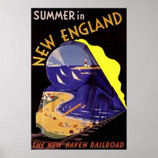 Poster verano del viaje del vintage en Nueva Ingla