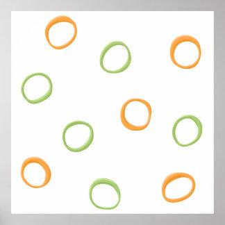 Poster verde anaranjado pintado de los círculos