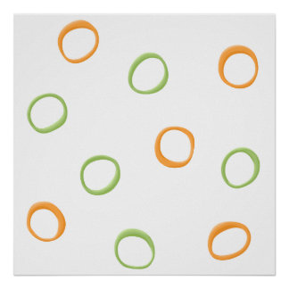 Poster verde anaranjado pintado de los círculos póster