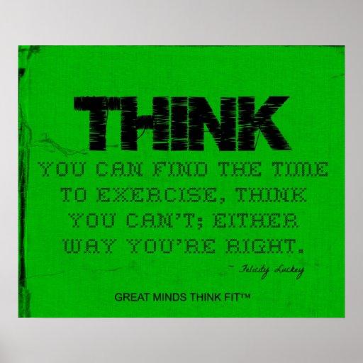 ¡Poster verde de la aptitud - piense el ajuste! Póster