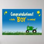 Poster verde de la fiesta de bienvenida al bebé de