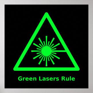 Poster verde de la regla de los lasers