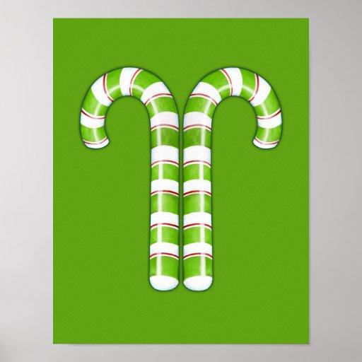 Poster verde de los bastones de caramelo