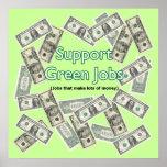 Poster verde de los trabajos de la ayuda