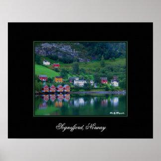 Poster verde de Noruega de las reflexiones