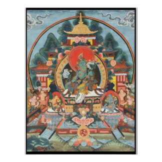Poster verde de Thangka del tibetano de Tara