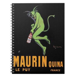 Poster verde del ajenjo del diablo de Maurin Quina Libros De Apuntes Con Espiral