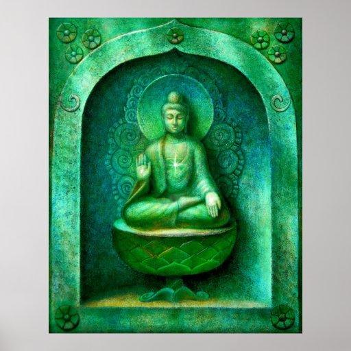 Poster verde del arte de la meditación del budista