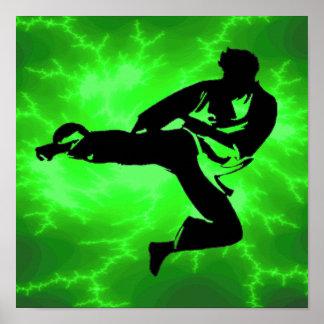 Poster verde del relámpago de los artes marciales