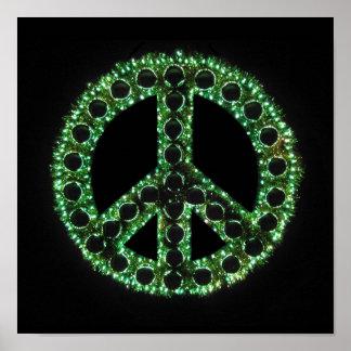 poster verde del signo de la paz