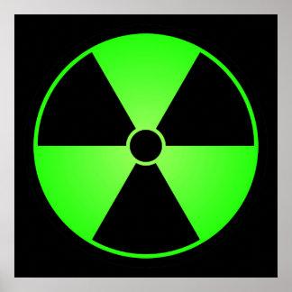 Poster verde del símbolo de la radiación