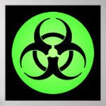 Poster verde del símbolo del Biohazard