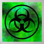 Poster verde del símbolo del Biohazard de la niebl