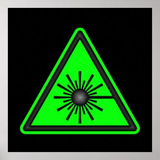 Poster verde del símbolo del laser