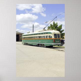 Poster verde eléctrico de la tranvía