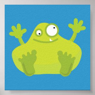 Poster verde lindo del monstruo