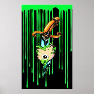 Poster verde sangriento de la daga