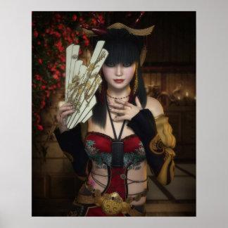 Poster vibrante de señora Under Blossoms con la fa