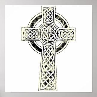 Poster viejo de la cruz céltica