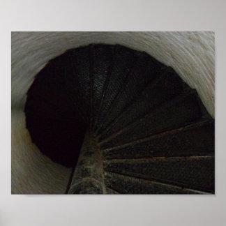 Poster viejo de la escalera espiral del faro de